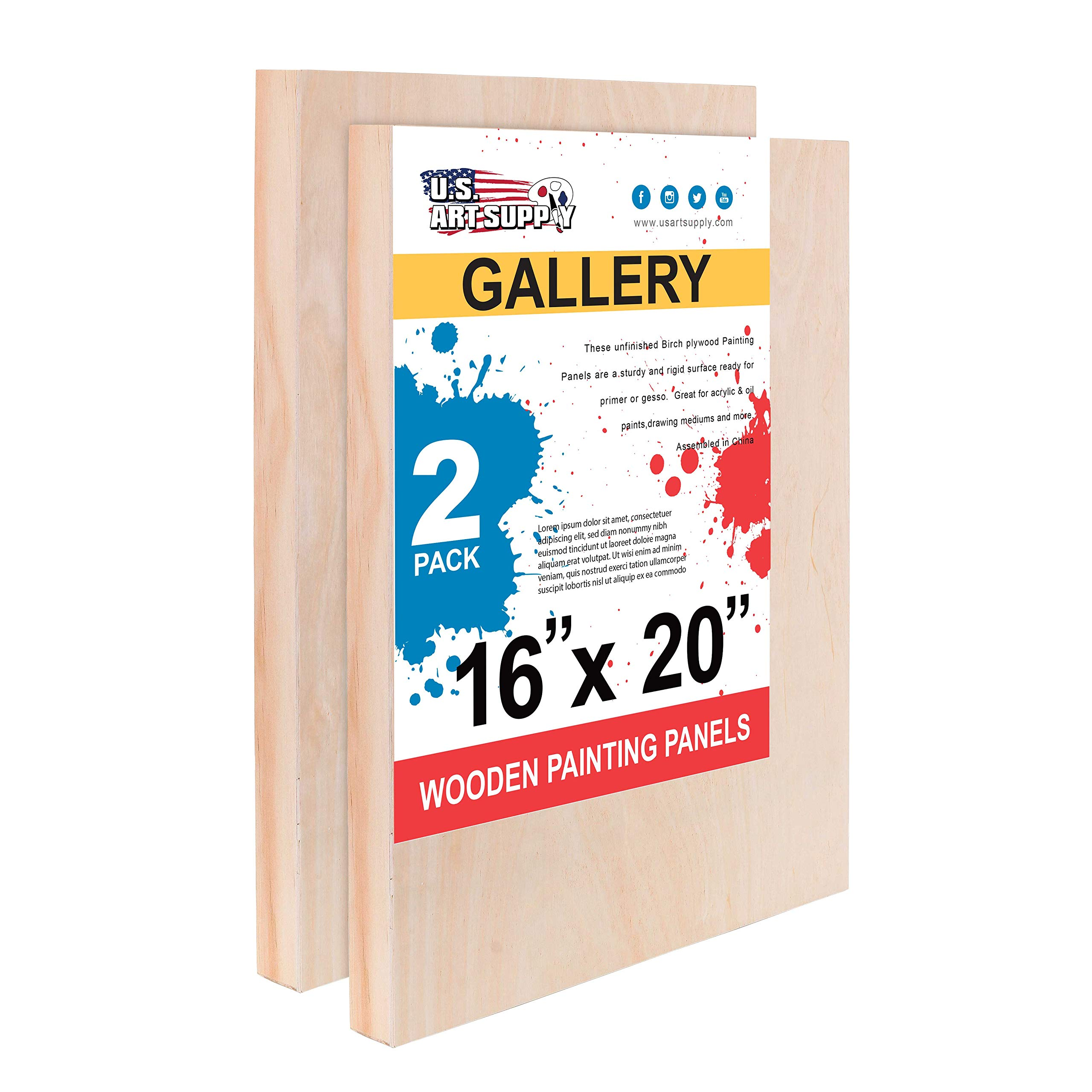 U.S. Art Supply 16'' x 20'' Birch Wood Paint Pouring Panel Boards, Gallery 1-1/2'' Deep Cradle (Pack of 2) - Artist Depth Wooden Wall Canvases - Painting Mixed-Media Craft, Acrylic, Oil, Encaustic by U.S. Art Supply