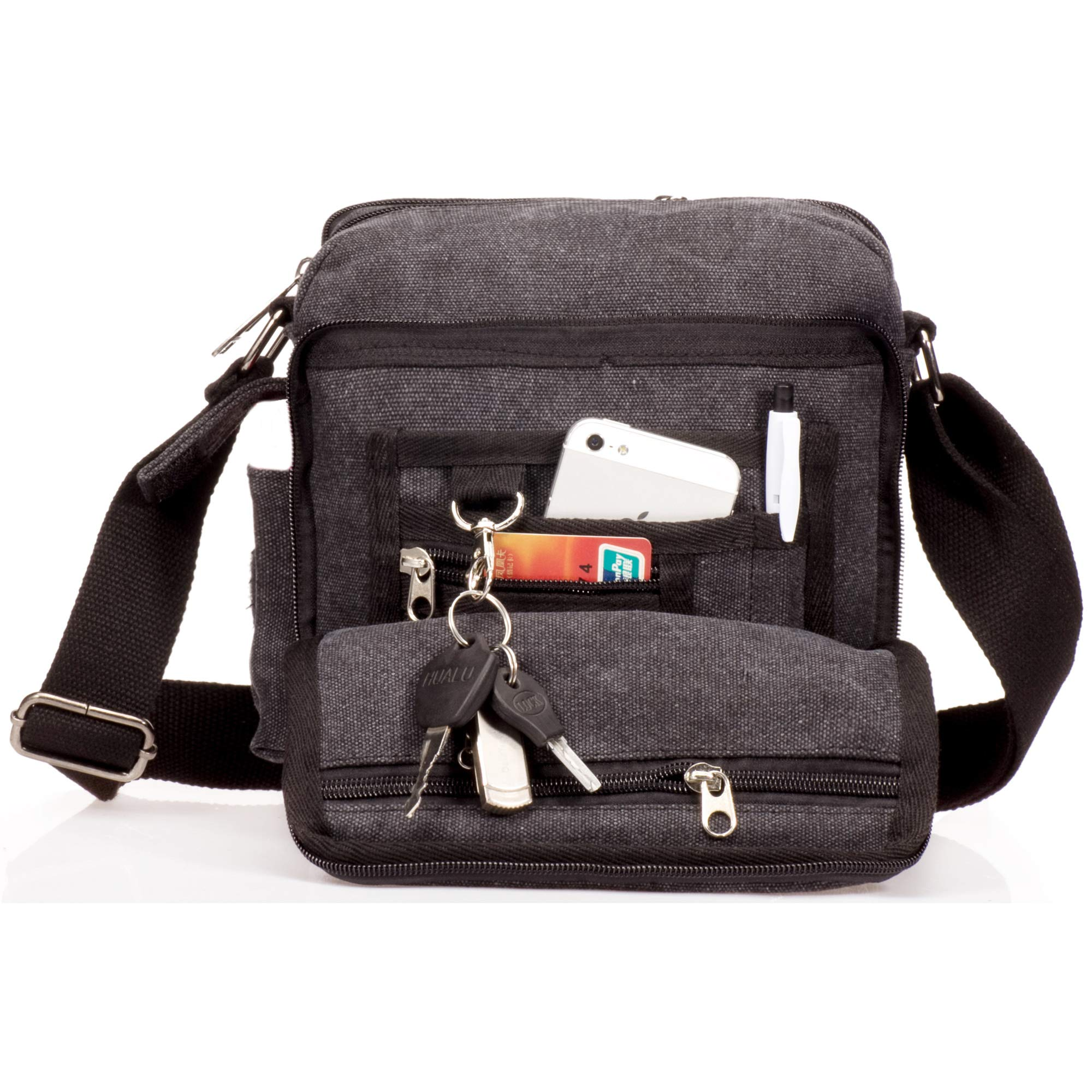 Outreo Bolso Bandolera Hombre Pequeñas Bolsos de Tela Vintage Messenger Bag para Colegio Bolsa de Lona