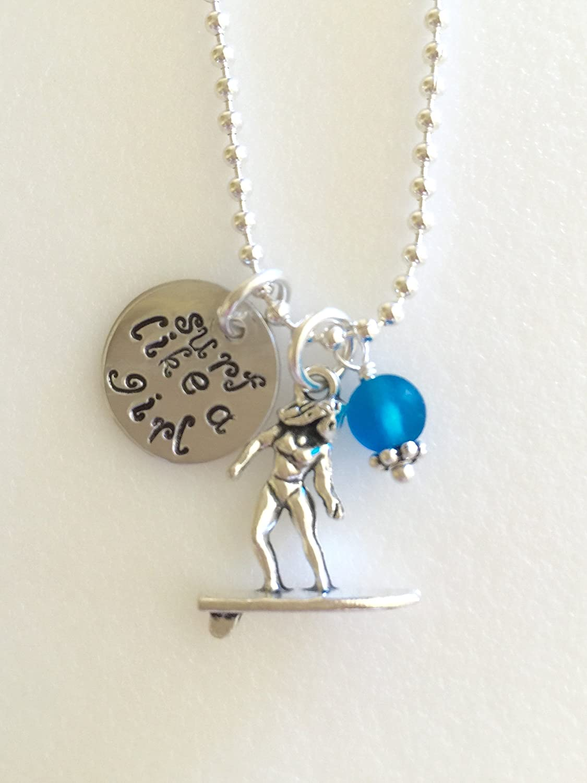 Surfer girl pendant necklace