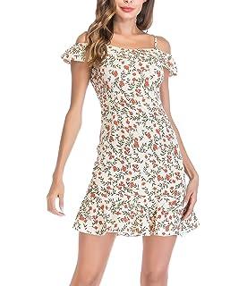 a58fec0a401 YOSICIL Femme Robe Mini à Fleur Bretelle Taille Haute Robe Imprimée Épaules  Dénudées Manches Courtes Sexy…