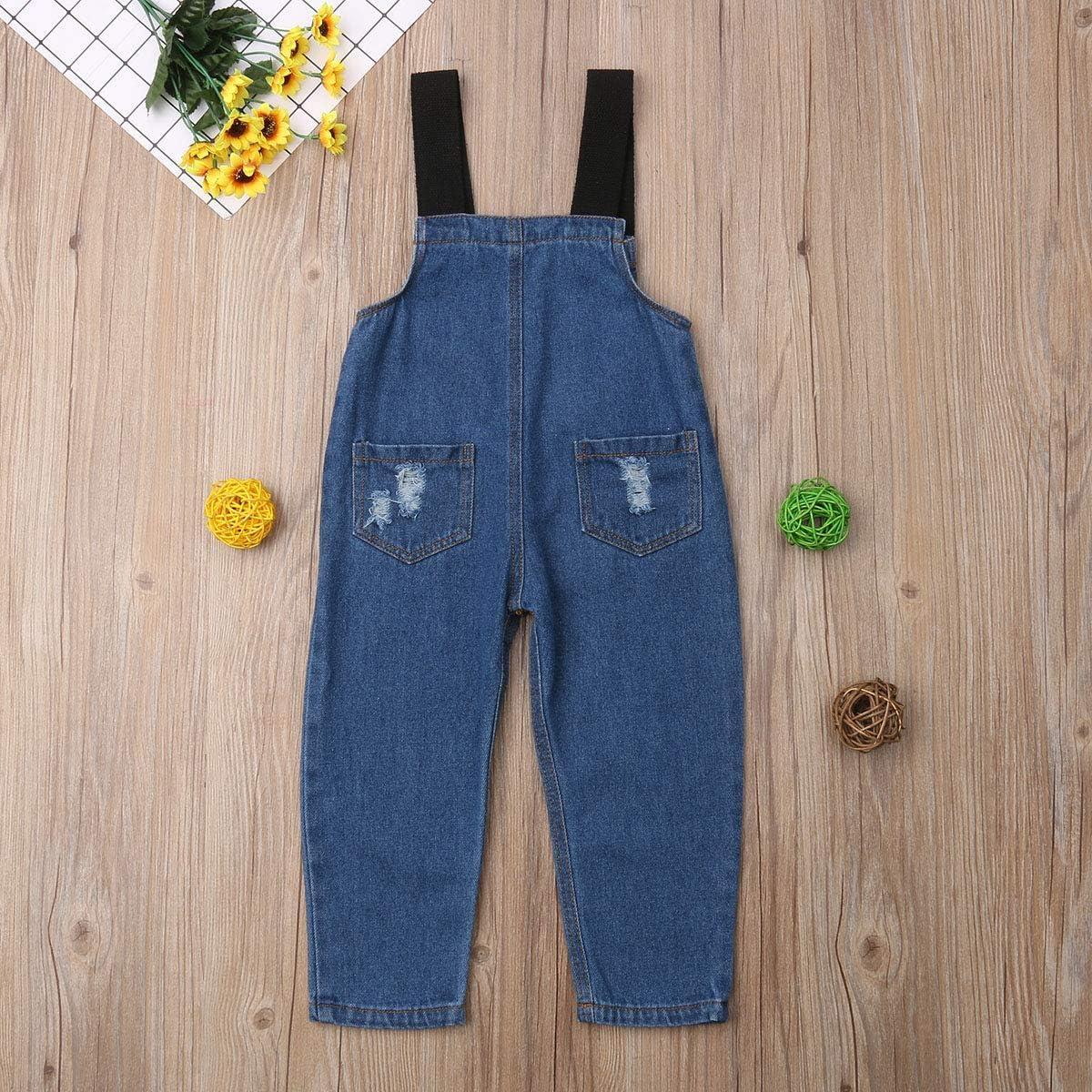 Gupgi Kids Baby Boys Girl Denim Suspender Pants Overall Jeans