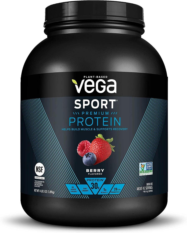 Vega Sport Premium Protein Powder, Berry, Plant Based Protein Powder for Post Workout - Certified Vegan, Vegetarian, Keto-Friendly, Gluten Free, Dairy Free, BCAA Amino Acid (45 Servings / 4lbs 3oz)