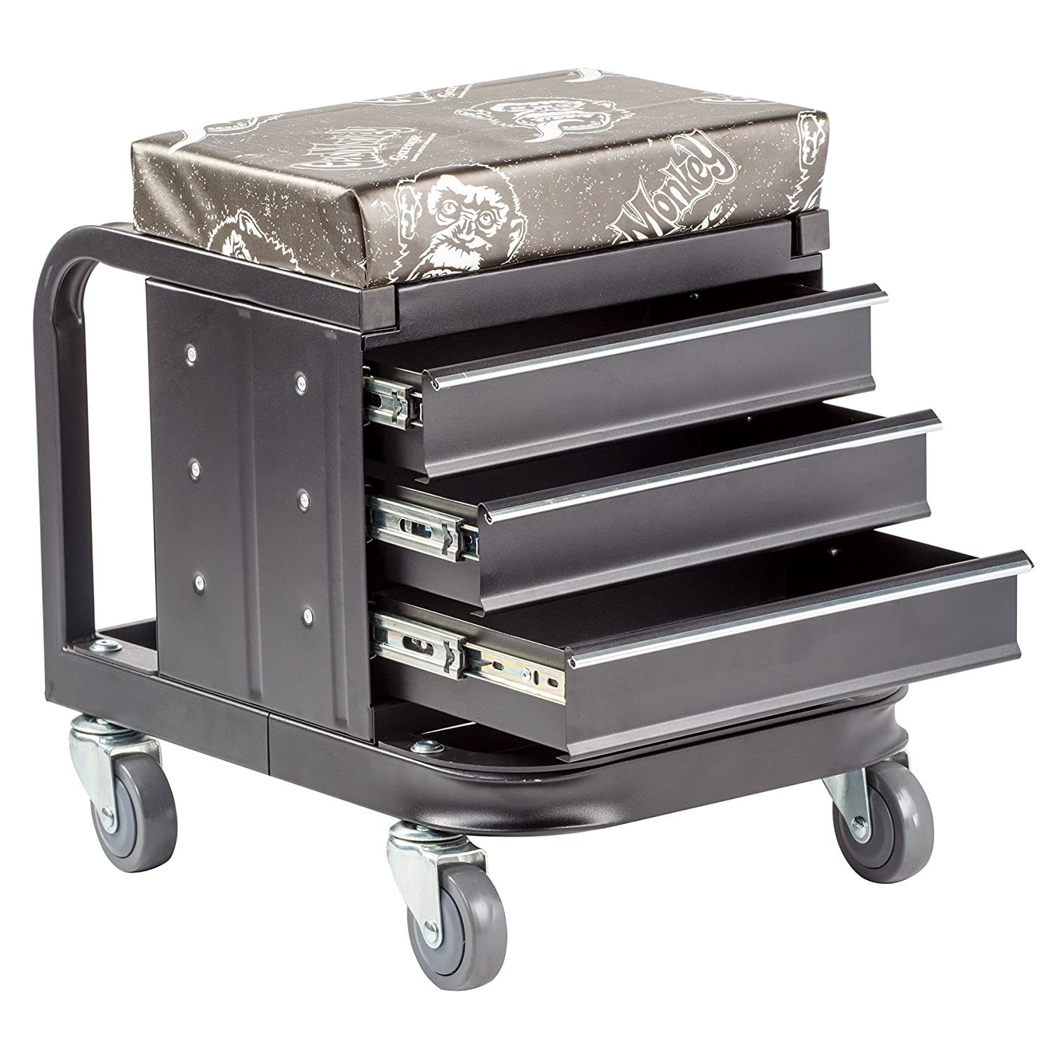 3-Drawers Toolbox with 4 Rolling Casters 450 Lbs Capacity Gas Monkey Creeper Seat and Tool Box Combo