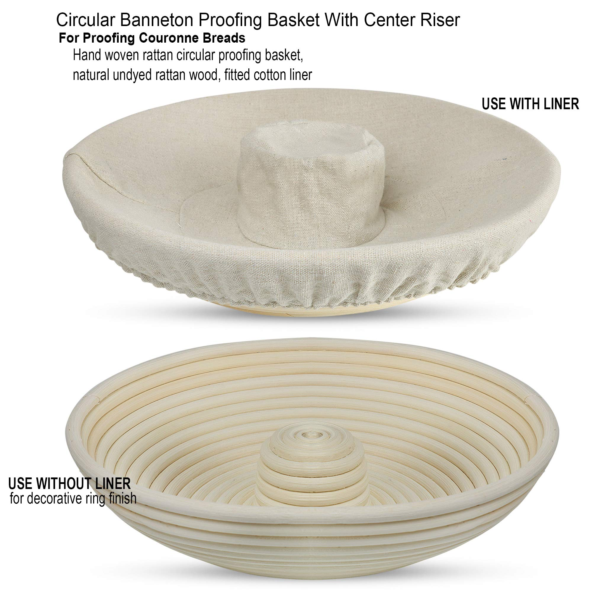 Circular Brotfom Proofing Basket Set - Hand Woven Ring Round Rattan Couronne Banneton Proofing Bread Rising Basket with Center Riser, 11.5 Inch, Fitted Cotton Liner, and Bread Bowl Scraper by Bread Experience (Image #3)