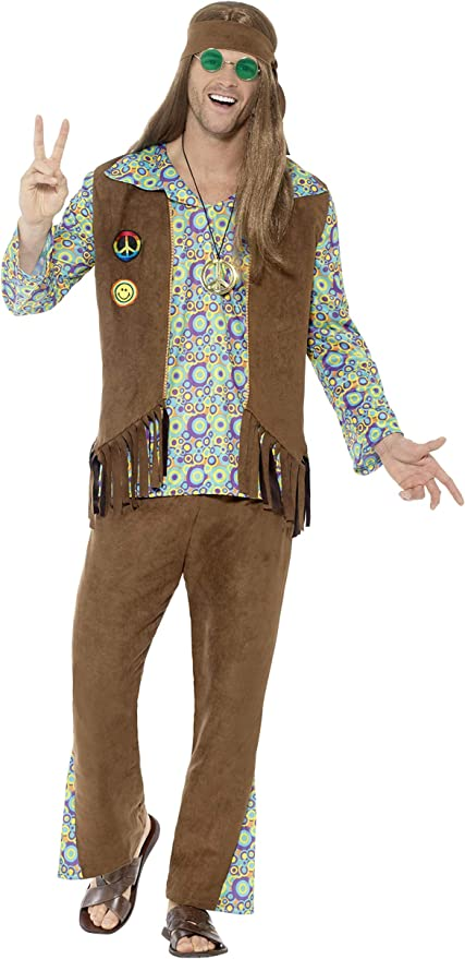60s -70s  Men's Costumes : Hippie, Disco, Beatles Smiffys Mens 60s Hippie Costume with Pants Top Waistcoat  AT vintagedancer.com