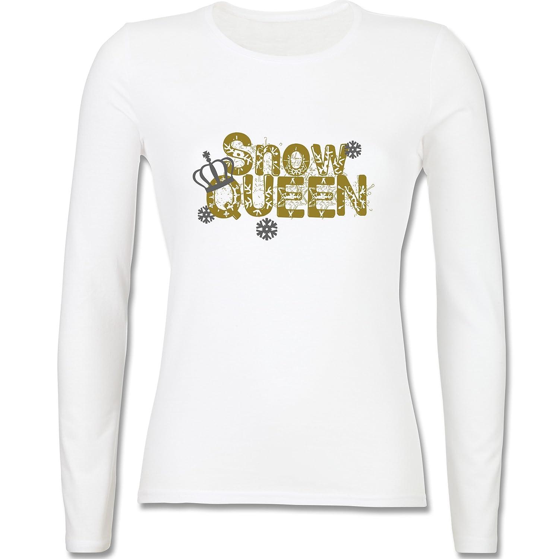 Après Ski - Snowqueen - tailliertes Longsleeve / langärmeliges T-Shirt für Damen