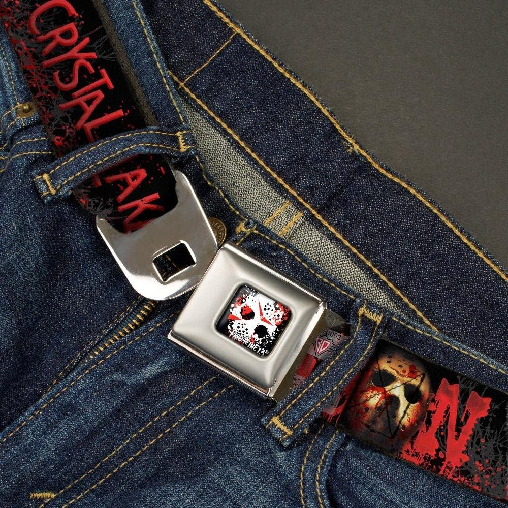 JASON Mask6//CAMP CRYSTAL LAKE//Hand Prints Blood Splatter Black//Reds//Gray 1.5 Wide 24-38 Inches in Length Buckle-Down Seatbelt Belt
