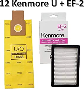 Casa Vacuums Replacement Kit for Kenmore Upright Vacuums. 12 Kenmore U/O Allergen Bags 50688 + 1 Sears Kenmore EF-2 Filter 86880 MC-V194H 40320