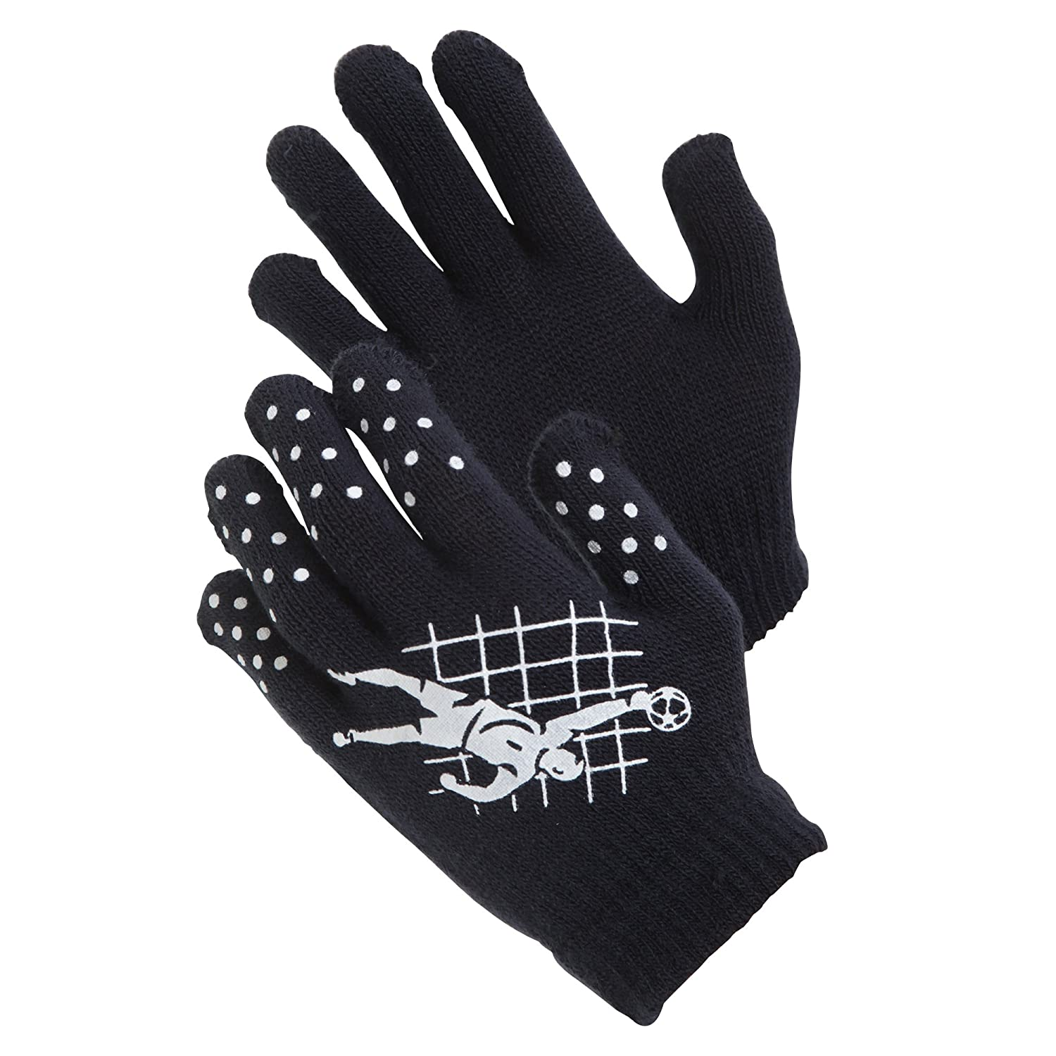 Childrens Boys Football Design Thermal Magic Gripper Gloves (One Size) (Black/Red) Universal Textiles UTGL476_5