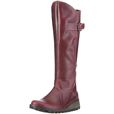 FLY London Womens MOL 2 Knee High Leather Winter Boot  Low Wedge Cleated  Sole
