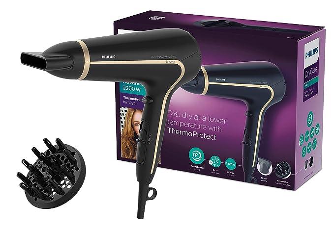 Philips ThermoProtect Ionic HP8232/20 secador Negro 2200 W - Secador de pelo (Negro, ABS sintéticos, Con agujero en la empuñadura para colgar, 1,8 m, ...