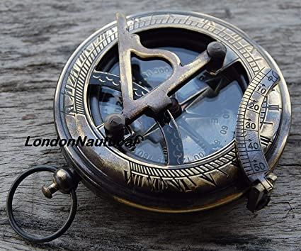 SOLID BRASS PUSH BUTTON COMPASS ANTIQUE SHIP GIFT a
