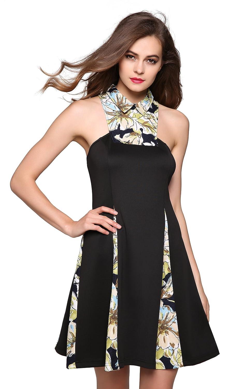 CRAVOG Damen Cocktailkleid Partykleid Abendkleid Minikleid Sommerkleider
