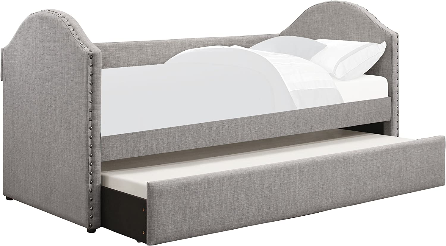 Homelegance Tarpen Fabric Upholstered Daybed with Trundle, Twin, Gray