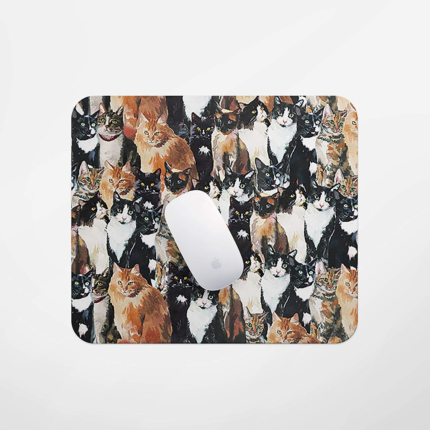 Rectangular Mouse pad, Cute cat Mouse pad, Small Mouse pad with Design, Non-Slip Rubber Mouse pad, Custom Animal Mouse pad for Female Girl Office Dorm Computer Laptop Travel
