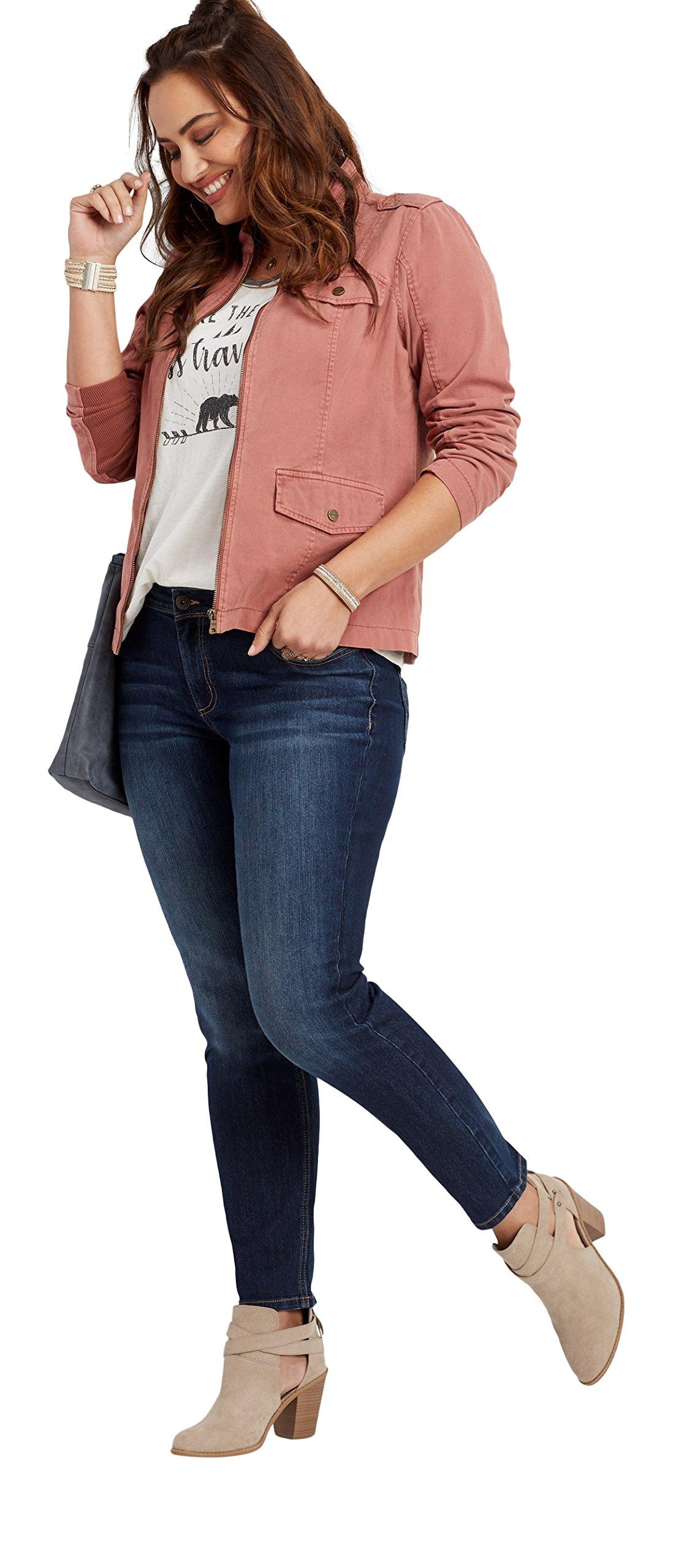 maurices Women's Plus Size Denimflex Dark Wash Skinny Jean 14W Dark Sandblast