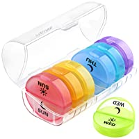 Daily Pill Organizer (Twice-a-Day) - Weekly AM/PM Pill Box,Round Medicine Organizer...