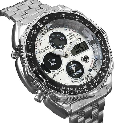 Infantería para hombre Dual Display táctico militar analógico digital deporte reloj de pulsera banda de acero inoxidable: Amazon.es: Relojes