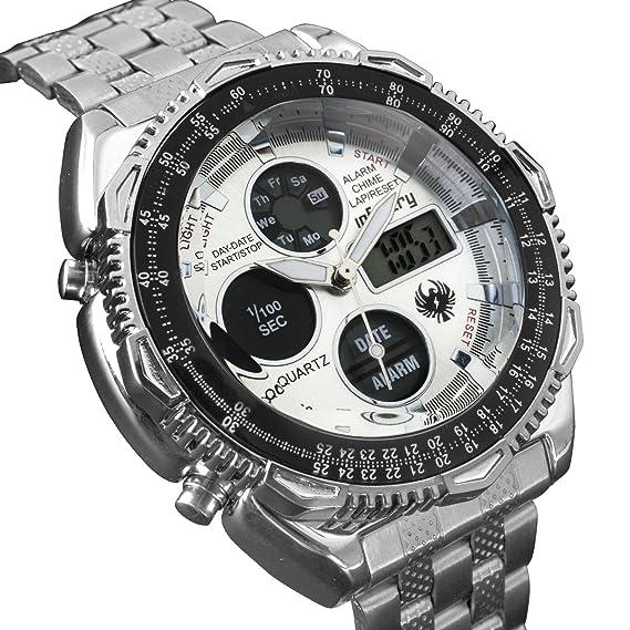 Infantería para hombre Dual Display táctico militar analógico digital deporte reloj de pulsera banda de acero