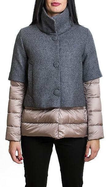 95fd863350 ADD   Piumino d'oca giubbotto Add donna monopetto con lana grigio ...