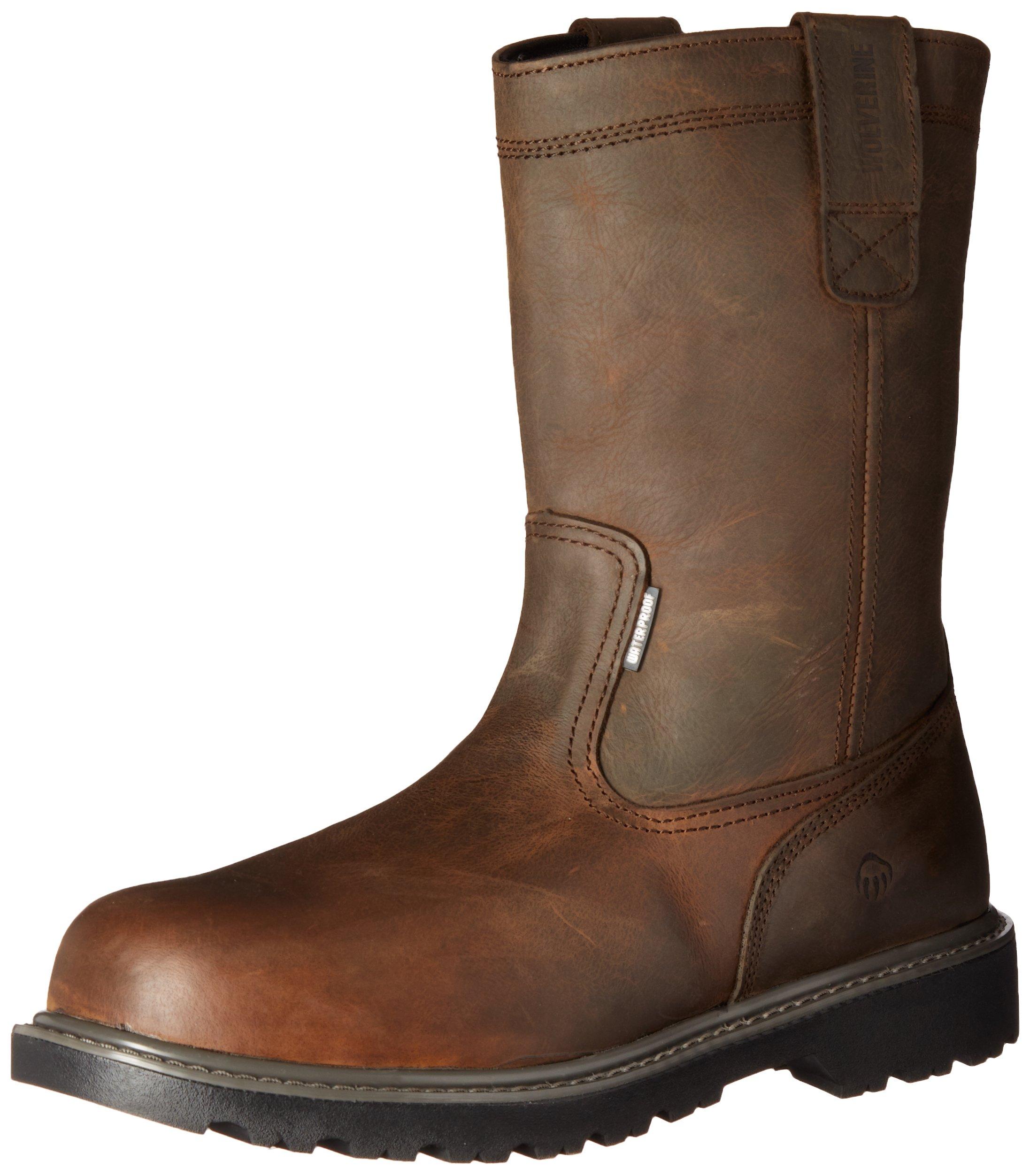 Wolverine Men's Floorhand Waterproof 10'' Steel Toe Work Boot, Dark Brown, 12 M US