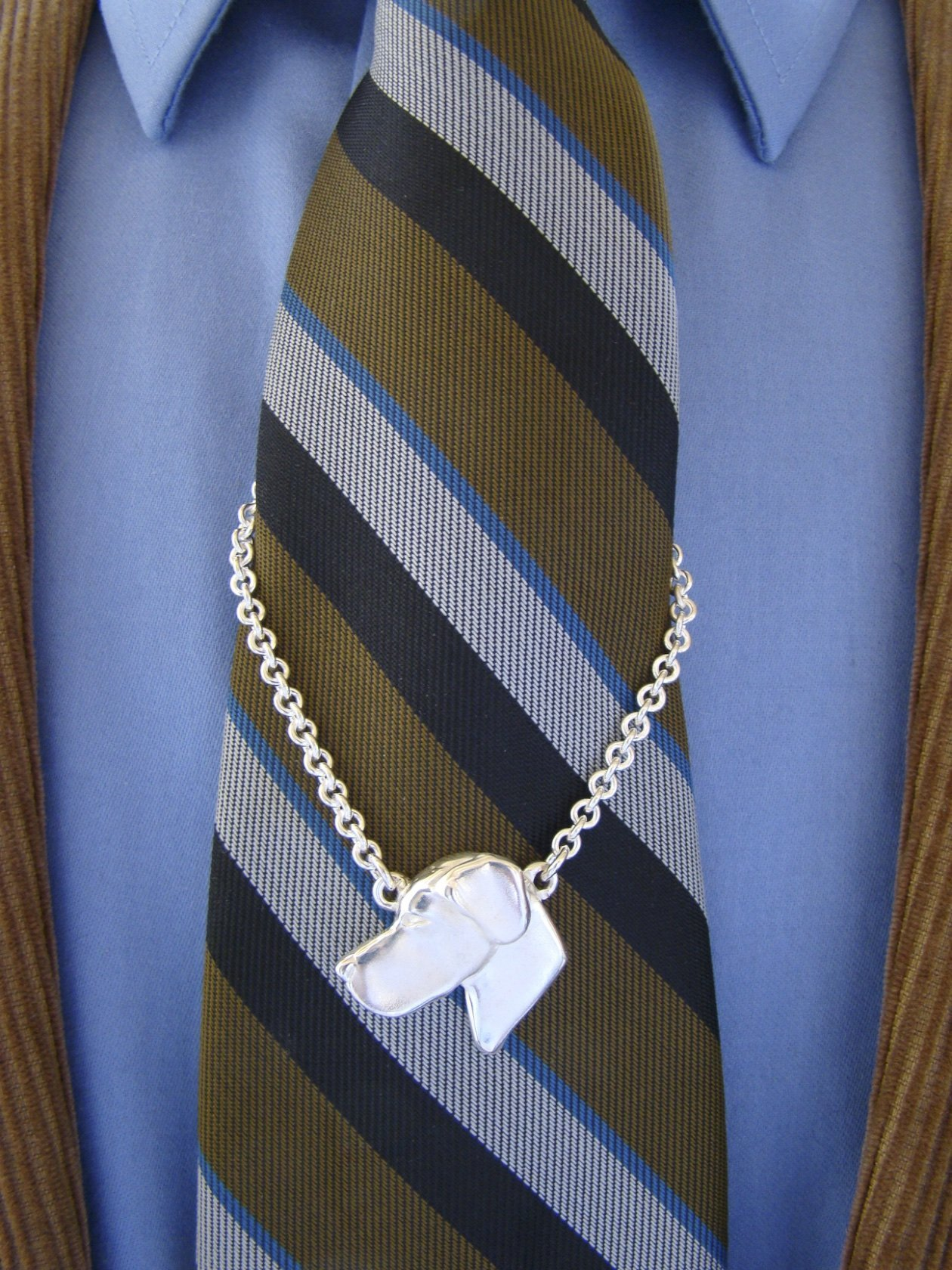 Large Sterling Silver Great Dane Head Study With Cropped Ears Tie Chain