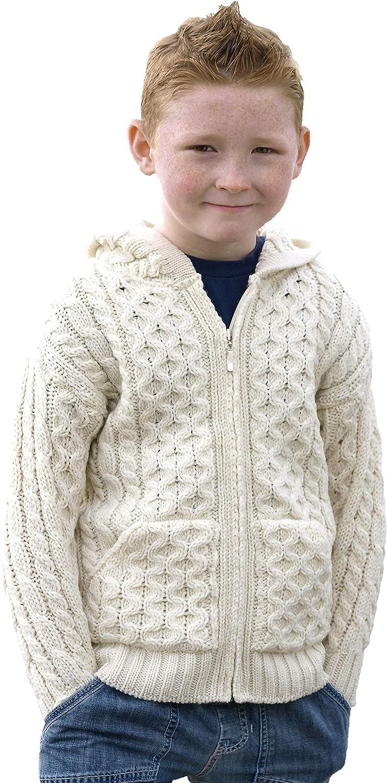 Aran Crafts Kid's Irish Cable Knitted Hooded Zip Cardigan (100% Merino Wool)