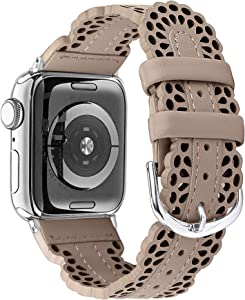 Secbolt Leather Bands Compatible with Apple Watch Band 42mm 44mm iWatch SE Series 6 5 4 3 2 1, Breathable Chic Lace Leather Strap for Women, Tan