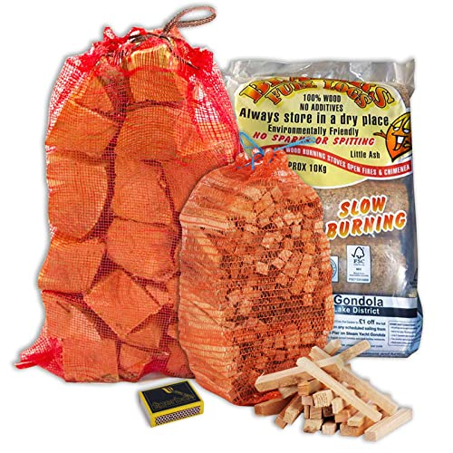 Complete Pizza Oven Fuel Kit - 8KG Kiln Dried Logs, Large Bag of Kindling, Blazers Fuel Logs & Tigerbox Safety Matches
