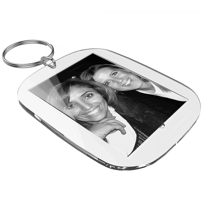Set per portachiavi fai da te in acrilico (40 x 30 mm, 25 pezzi) con fogli per la stampa da personalizzare con foto, testi e immagini mia mai Buttons