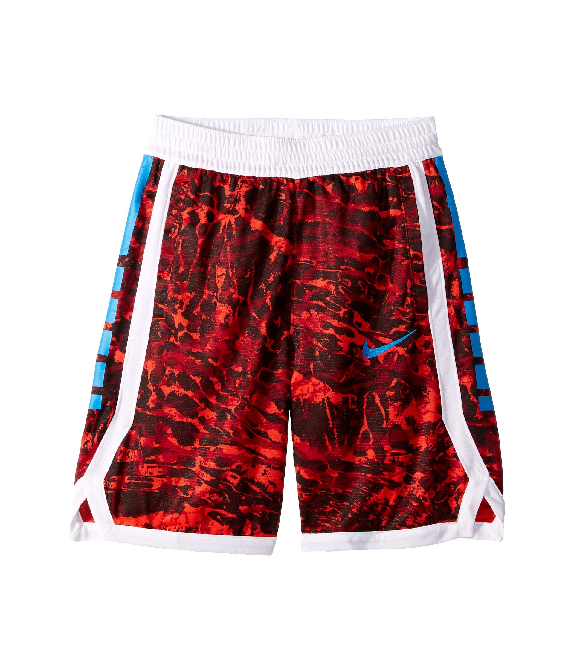Nike Boy's Dri-FIT Elite Printed Basketball Shorts (Habanero Red/Photo Blue, Large) by Nike