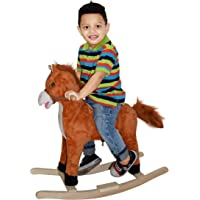 Rocking Kids Kid's Wooden Beautiful Rocking Horse with Tail and Mouth movement actions, Horse-Sound and Kids Song (Brown)
