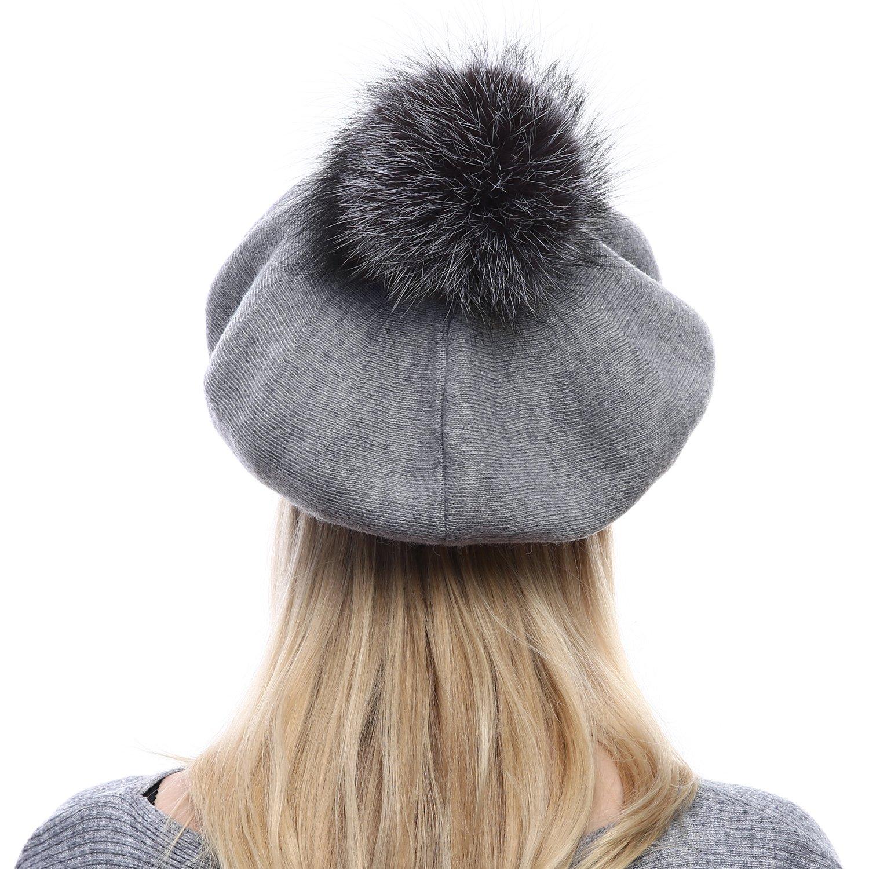d63f29a77f8 Amazon.com  Queenfur Women Wool Beret - Real Silver Fox Fur Pom Pom Beanies  Winter Knit Cashmere Hats (Dark Grey)