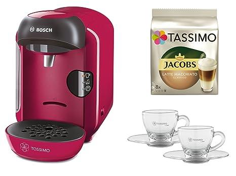 Bosch Tassimo Vivy + tdisc + WMF Juego vasos Café rosa ...