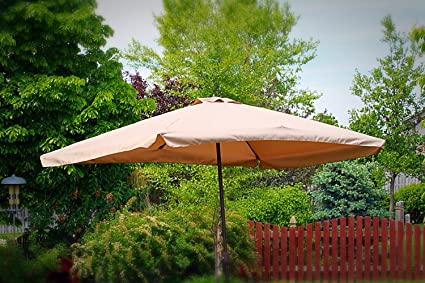 Rectangle Outdoor Patio Market Umbrella   Tan