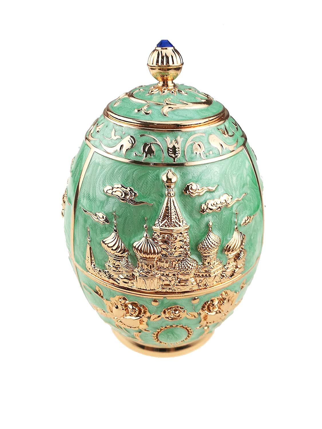 Royal Russian Style Tea Canister Engrave Castle Pattern Tin Metal Tea Container for Loose Tea Tea Jar Art Craft Ornament Home Decor (White, Castle and Horse) Winterworm