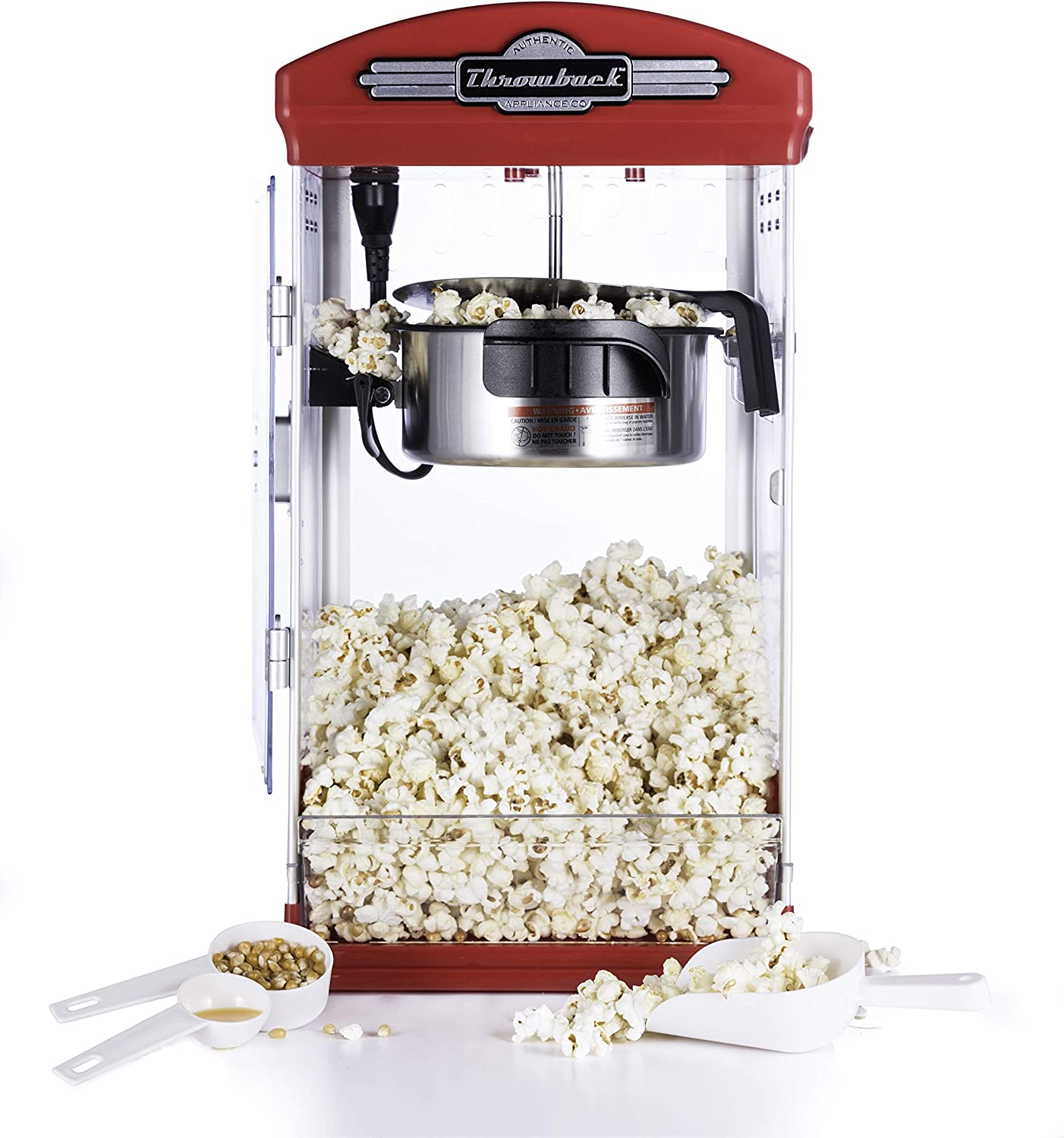 Amazon Com Throwback 60030 Classic Vintage Design Movie Theater Fresh Kettle Style Popcorn Maker Machine With Popcorn Scoop Measuring Cup And Oil Spoon Red Kitchen Dining