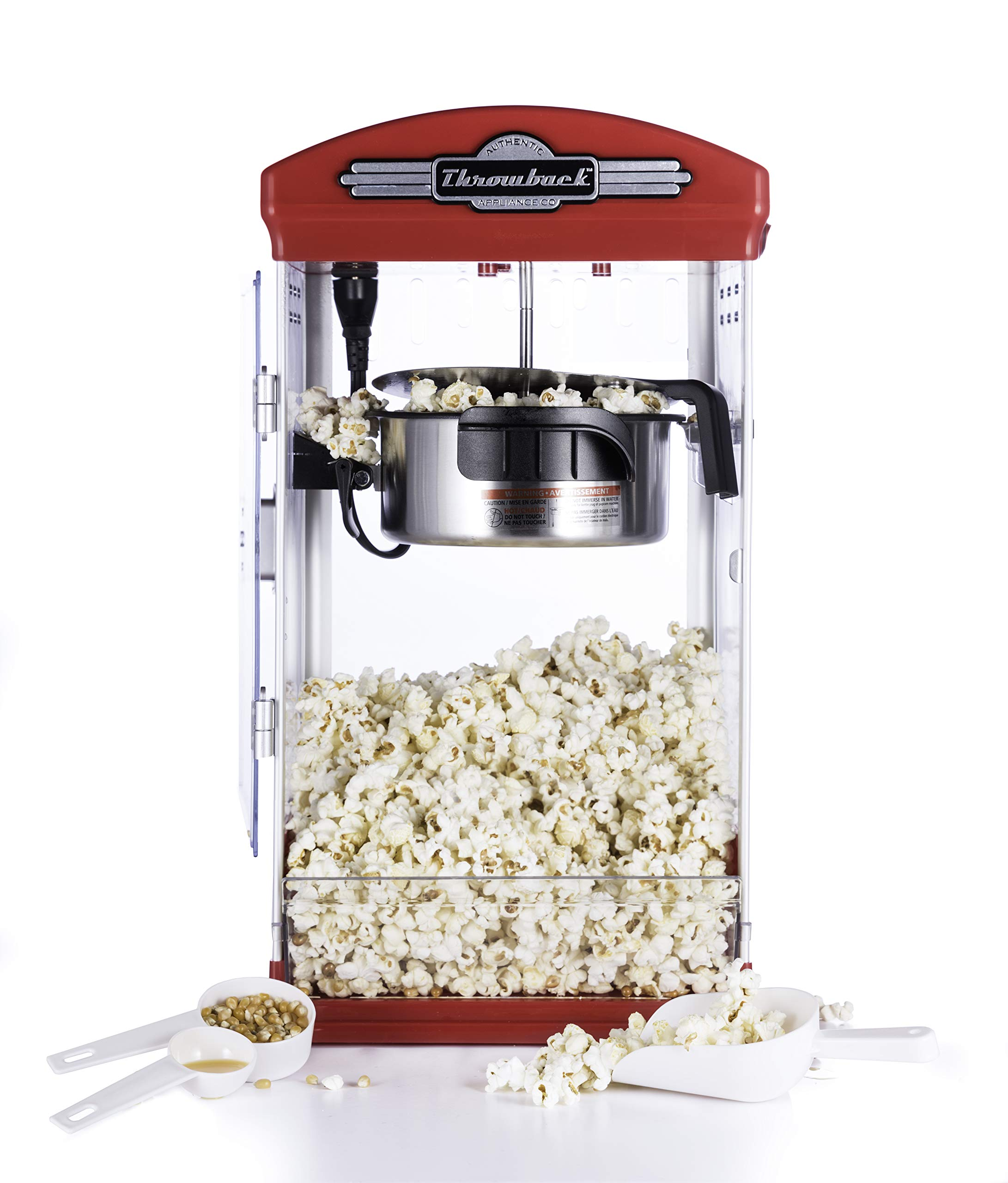 Throwback (60030) Vintage-Inspired Theatre Kettle Style Popcorn Maker, Red