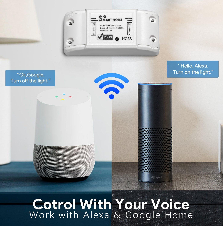 iPhone App Android Smartphone App Google Home Echo Echo Dot Wei/ß UNEEDE Wifi Schalter Smart Life Schalter 10A WLAN 2.4G Schalter WiFi Smart Lichtschalter Arbeitet mit  Alexa