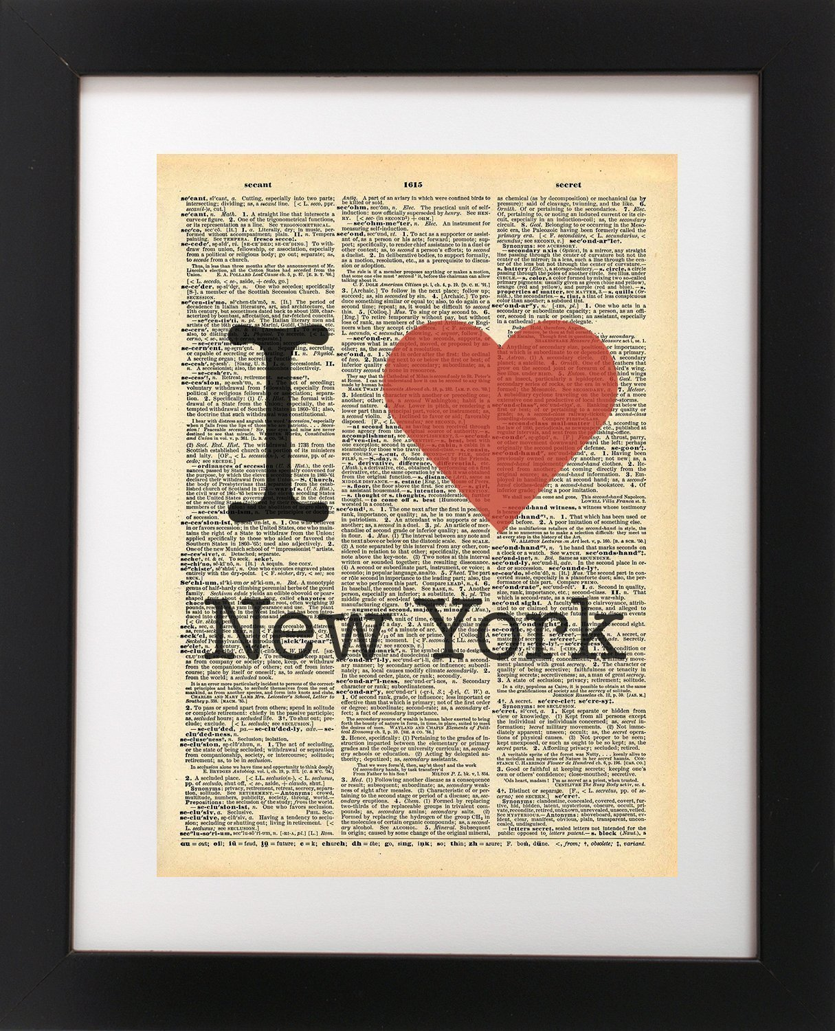 I Heart New York NYC - Vintage Dictionary Print 8x10 inch Home Vintage Art Abstract Prints Wall Art for Home Decor Wall Decorations For Living Room Bedroom Office Ready-to-Frame