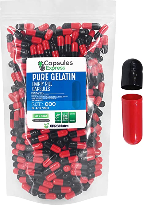 XPRS Nutra Size 000 Empty Capsules - 500 Count Empty Gelatin Capsules - Capsules Express Empty Pill Capsules - DIY Supplement Capsule Filling - Fillable Color Gel Caps Pills (Red / Black)
