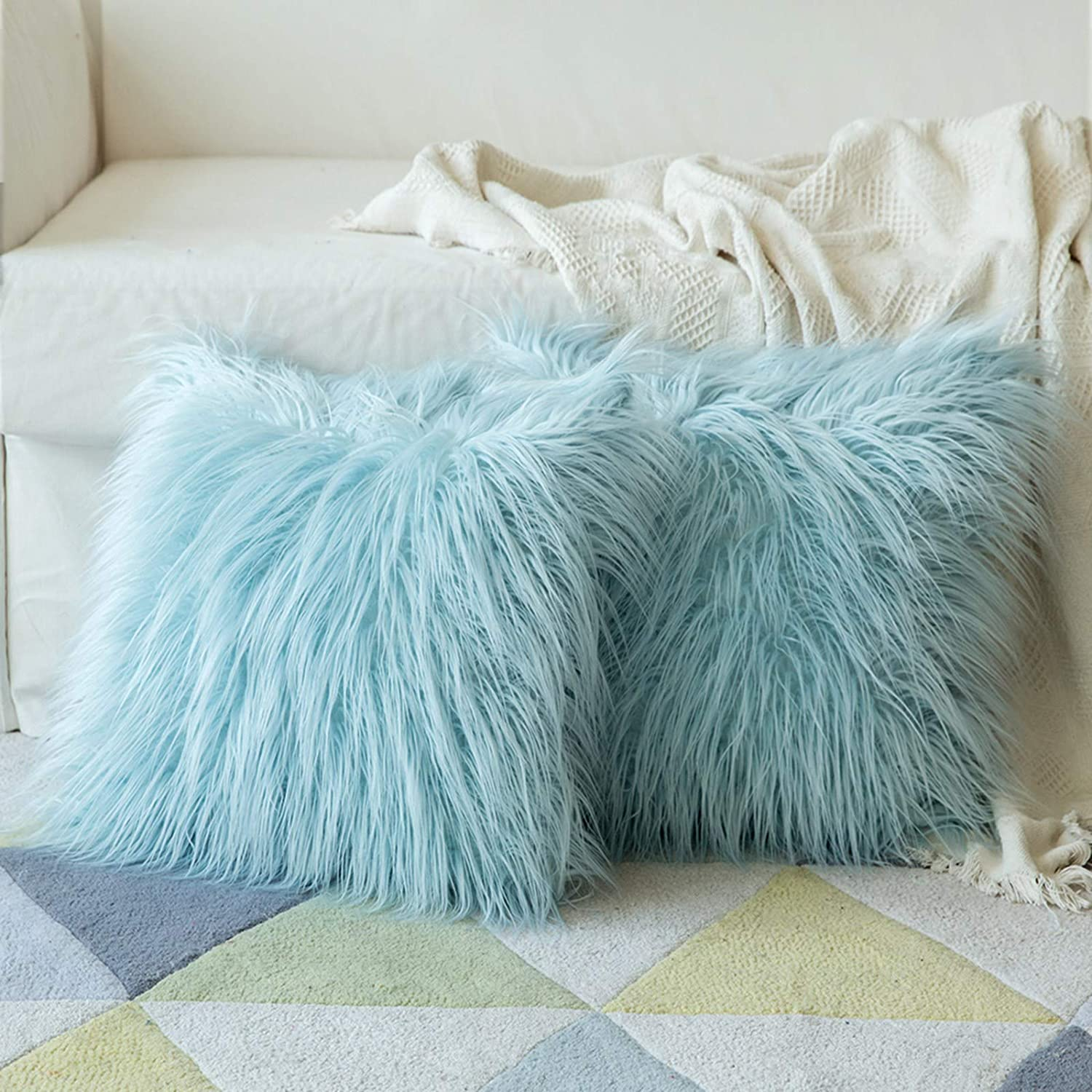 Miulee Fluffy Soft Decorative Square Pillow Covers Plush Pillow Case Faux Fur Cushion Covers For Livingroom Sofa Bedroom 20 X 20 Inch 50 X 50 Cm Set Of 2 Light Blue Amazon Co Uk