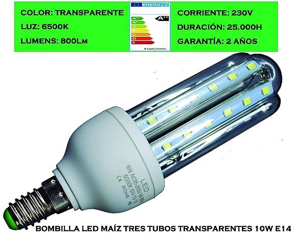 Tubombiled - Bombilla LED Maíz Tres Tubos Transparentes 10W E14 Luz Fría 6500K (El paquete