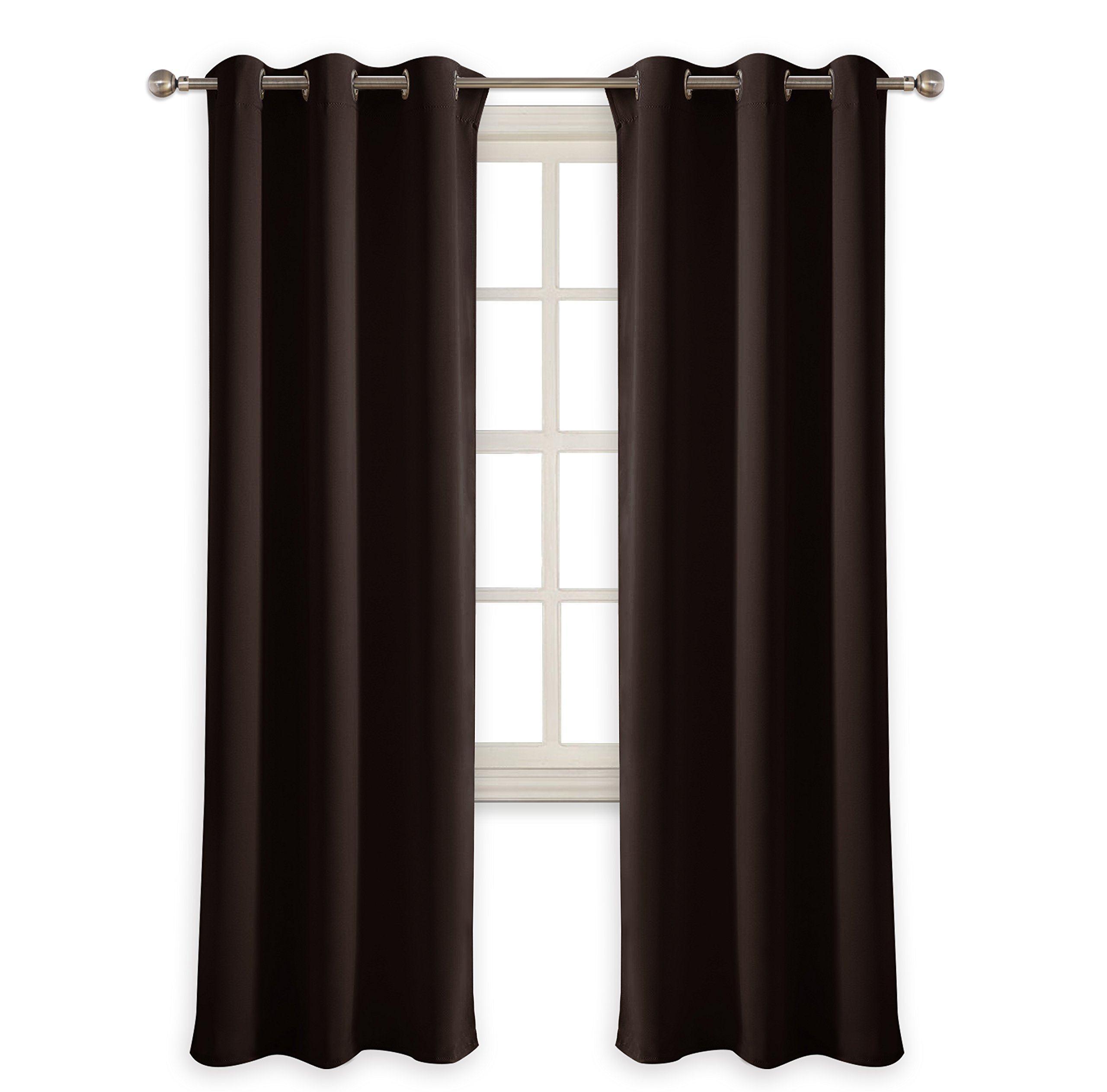 PONY DANCE Blackout Curtain Panels - Window Treatments Room Darkening Thermal Insulated Drapery with Grommets for Living Room for Home Decoration, W 42'' x L 72'', Chocolate Brown, 2 Pieces