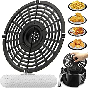 Air Fryer Replacement Grill Pan For Power Gowise 5QT Air Fryers, Crisper Pan, Air Fryer Accessories, Non-Stick Air Fryer Pan, Dishwasher Safe(Gift: 20air fryer filter papers).