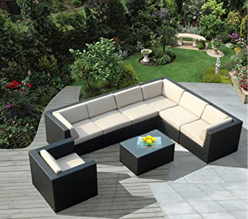 Ohana 8 Piece Outdoor Wicker Patio Furniture Sectional Conversation Set  With Weather Resistant Cushions (