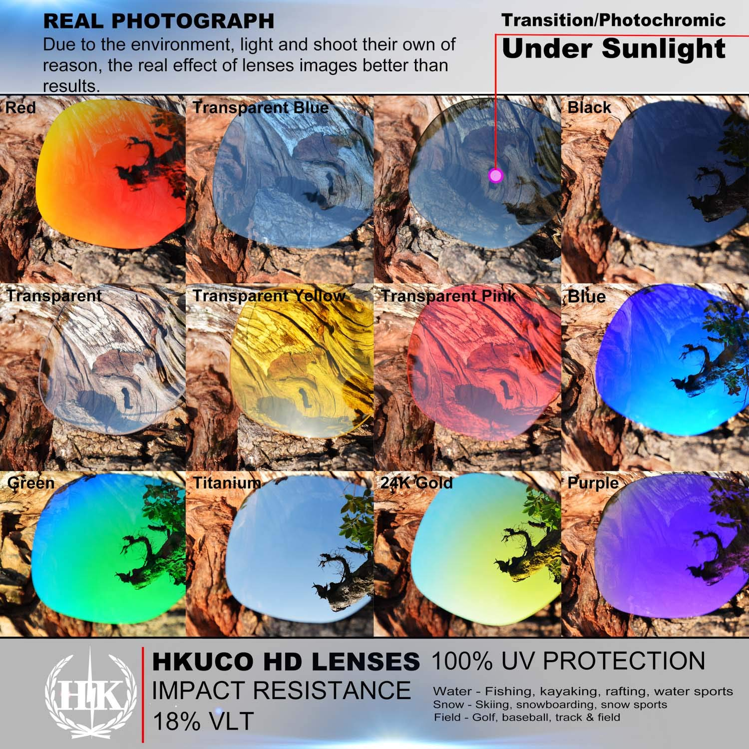HKUCO Reinforce Replacement Lenses For Rudy Stratofly Red//Blue//Black//24K Gold//Titanium//Emerald Green Sunglasses