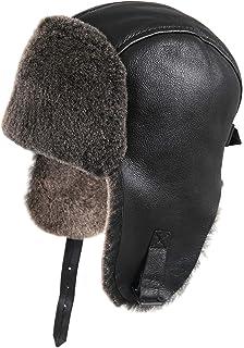 421dfd00 Amazon.com : Zavelio Men's Shearling Sheepskin Elmer Fudd Visor ...