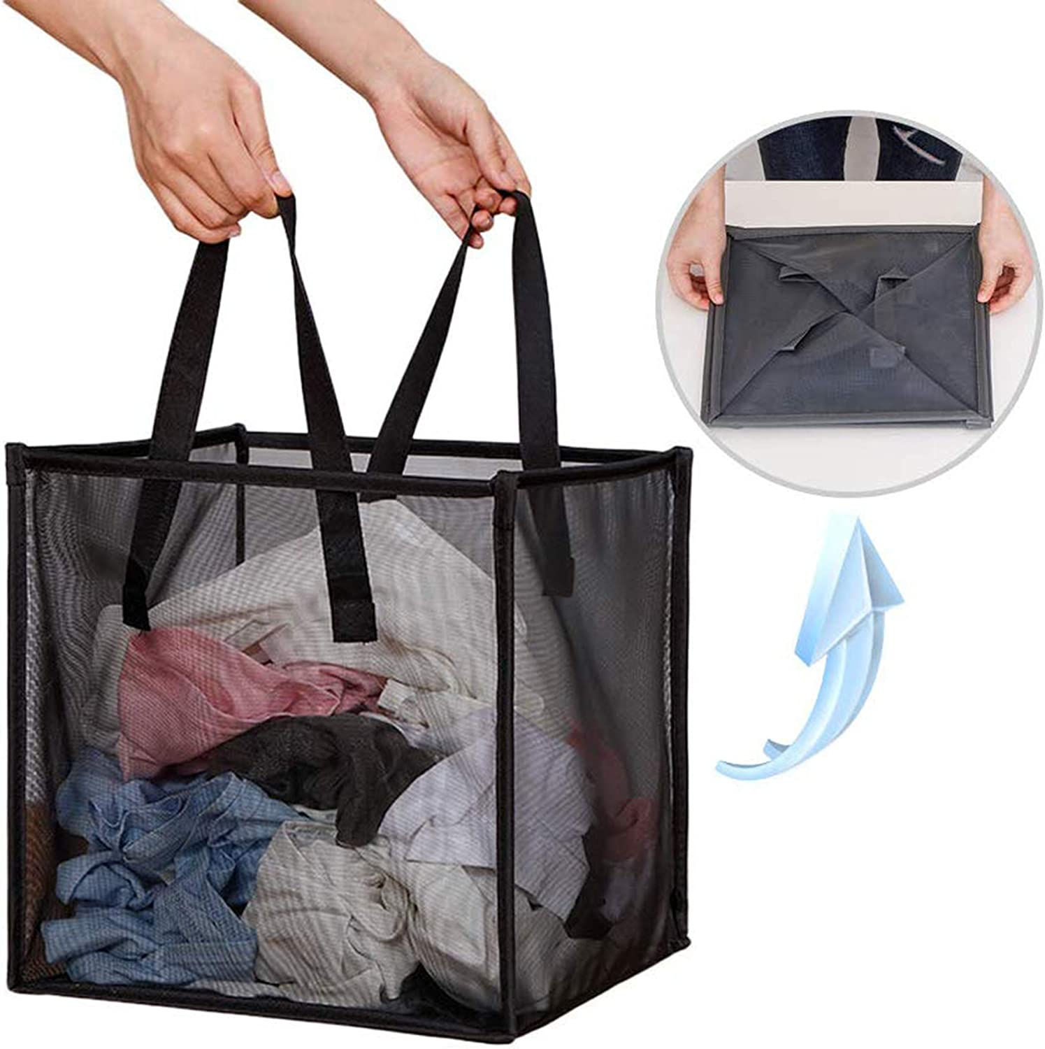 Mesh Popup Laundry Hamper with Handles,Portable Durable Collapsible Storage Easy Open. Folding Pop-Up Clothes Hampers Basket Foldable Great for The Kids Room College Dorm or Travel