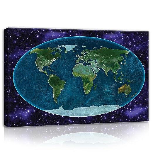 Erde Karte Rund.Wallarena Wandbild Canvasbild Wandbild Leinwandbild Kunstdruck